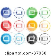 Royalty Free RF Clipart Illustration Of A Digital Collage Of Round Colorful Film Idustry Buttons