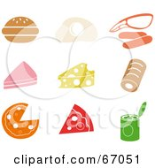 Royalty Free RF Clipart Illustration Of A Digital Collage Of Colorful Food Icons by Prawny