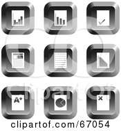 Royalty Free RF Clipart Illustration Of A Digital Collage Of Square Chrome Document Buttons by Prawny