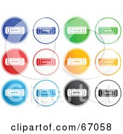 Royalty Free RF Clipart Illustration Of A Digital Collage Of Rounded Entry Ticket Buttons by Prawny