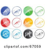 Royalty Free RF Clipart Illustration Of A Digital Collage Of Rounded T Rex Buttons by Prawny