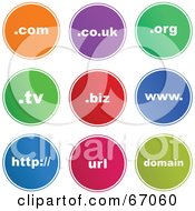 Royalty Free RF Clipart Illustration Of A Digital Collage Of Round Colorful Domain Buttons by Prawny