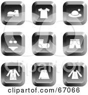Royalty Free RF Clipart Illustration Of A Digital Collage Of Square Chrome Clothing Buttons by Prawny