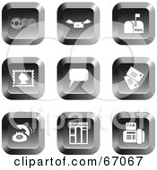 Royalty Free RF Clipart Illustration Of A Digital Collage Of Square Chrome Communications Buttons