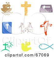 Royalty Free RF Clipart Illustration Of A Digital Collage Of Colorful Christian Icons by Prawny
