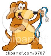 Brown Dog Mascot Cartoon Character Holding A Leash Ready For A Walk