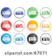 Royalty Free RF Clipart Illustration Of A Digital Collage Of Colorful Round Skyscraper Icons by Prawny