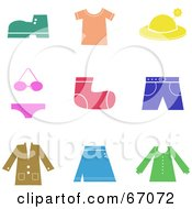 Royalty Free RF Clipart Illustration Of A Digital Collage Of Colorful Clothing Icons