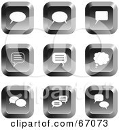 Royalty Free RF Clipart Illustration Of A Digital Collage Of Square Chrome Chat Box Buttons