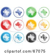 Digital Collage Of Round Colorful Butterfly Buttons