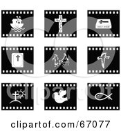 Royalty Free RF Clipart Illustration Of A Digital Collage Of Black And White Film Strip Christian Buttons by Prawny