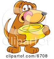 Brown Dog Mascot Cartoon Character Holding A Food Dish Waiting To Be Fed