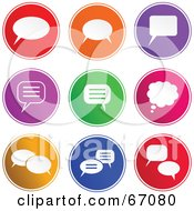 Royalty Free RF Clipart Illustration Of A Digital Collage Of Round Colorful Chat Box Buttons