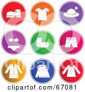 Royalty Free RF Clipart Illustration Of A Digital Collage Of Colorful Rounded Colorful Clothing Buttons