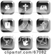 Royalty Free RF Clipart Illustration Of A Digital Collage Of Square Chrome Christian Buttons by Prawny