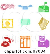 Royalty Free RF Clipart Illustration Of A Digital Collage Of Colorful Communication Icons