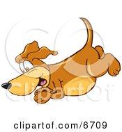 Brown Dog Mascot Cartoon Character Diving Or Jumping