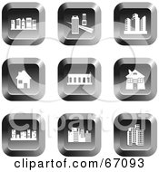 Royalty Free RF Clipart Illustration Of A Digital Collage Of Square Chrome Architecture Icons