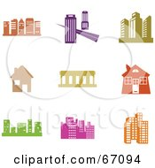 Royalty Free RF Clipart Illustration Of A Digital Collage Of Colorful Architectural Icons