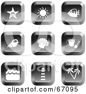 Digital Collage Of Chrome Square Beach Item Buttons