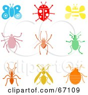 Digital Collage Of Colorful Insect Icons