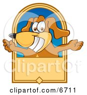 Brown Dog Mascot Cartoon Character With Open Arms On A Banner
