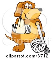 Brown Dog Mascot Cartoon Character With An Arm And Leg Bandaged Up