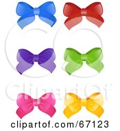 Royalty Free RF Clipart Illustration Of A Digital Collage Of Six Colorful Bows On White
