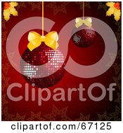 Royalty Free RF Clipart Illustration Of A Red Christmas Background With Disco Baubles And Golden Bows And Holly