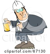 Royalty Free RF Clipart Illustration Of A Worker Man Crouching And Spraying A Cleaner From A Can