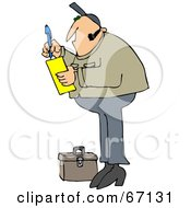 Royalty Free RF Clipart Illustration Of A Worker Man Standing By A Tool Box And Writing A Note On A Pad by Dennis Cox