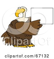 Royalty Free RF Clipart Illustration Of A Bald Eagle Holding Up A Blank White Sign