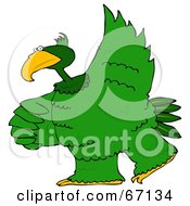 Royalty Free RF Clipart Illustration Of A Large Green Bird Dancing
