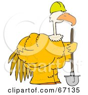 Large Yellow Construction Bird Holding A Shovel