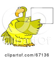 Large Yellow Bird Holding Up A Blank Sign