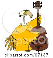 Royalty Free RF Clipart Illustration Of A Large Yellow Bird Playing A Bass