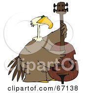 Royalty Free RF Clipart Illustration Of A Bald Eagle Playing A Double Bass