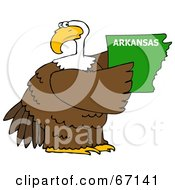 Royalty Free RF Clipart Illustration Of A Bald Eagle Holding A Green State Of Arkansas by djart