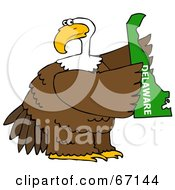 Royalty Free RF Clipart Illustration Of A Bald Eagle Holding A Green State Of Delaware by djart