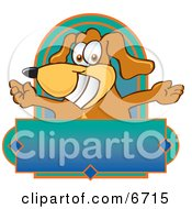 Brown Dog Mascot Cartoon Character With Open Arms Above A Blank Label