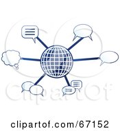 Royalty Free RF Clipart Illustration Of A Blue Molecule Communications Globe Version 4