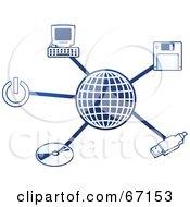 Blue Molecule Computer Globe