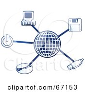Royalty Free RF Clipart Illustration Of A Blue Molecule Computer Globe