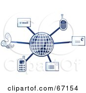 Royalty Free RF Clipart Illustration Of A Blue Molecule Communications Globe Version 1 by Prawny