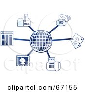 Royalty Free RF Clipart Illustration Of A Blue Molecule Communications Globe Version 2