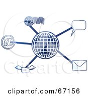 Royalty Free RF Clipart Illustration Of A Blue Molecule Communications Globe Version 3