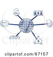 Royalty Free RF Clipart Illustration Of A Blue Molecule Dollar Globe by Prawny