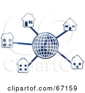 Royalty Free RF Clipart Illustration Of A Blue Molecule Globe With Homes by Prawny