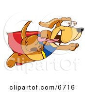Brown Dog Mascot Cartoon Character Dressed As A Super Hero Flying