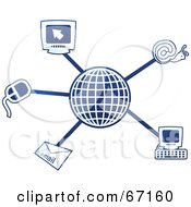 Royalty Free RF Clipart Illustration Of A Blue Molecule Internet Globe by Prawny